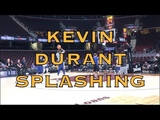 Kevin Durant splashing at practice in Cleveland, day before 2018 NBA Finals G4 at The Q