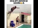 Когда друг добрался до бассейна