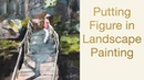 Putting figure in watercolor landscape painting