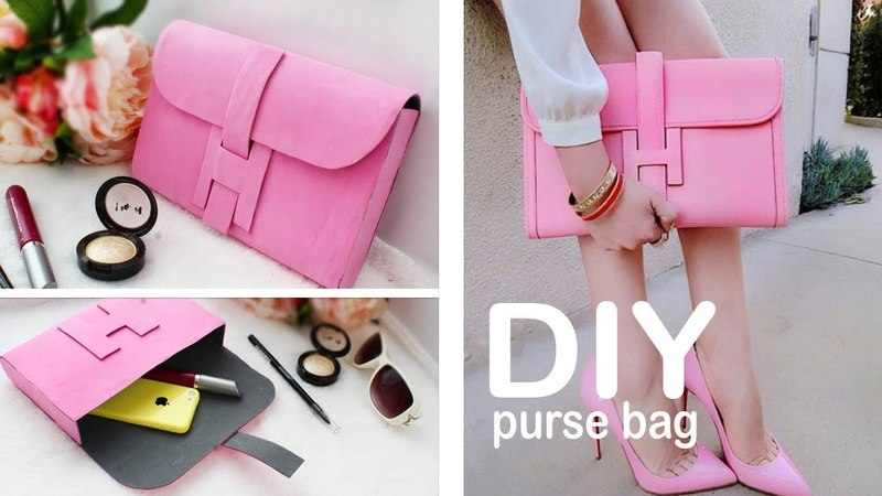 DIY PURSE BAG CLUTCH TUTORIAL NO SEW IDEA