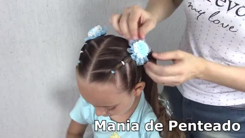 Penteado Infantil com ligas semi preso ou Maria Chiquinha