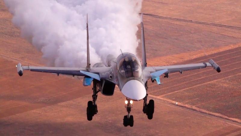 Минобороны опубликовало уникальные кадры посадки самолета Су 34