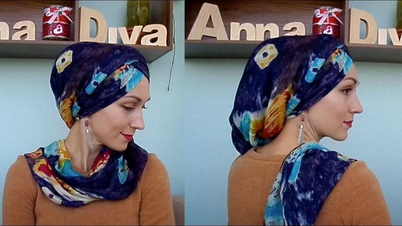 Фасон для широкого палантина - закрываем голову и шею про каркас с Али. Hair wrap tutorial