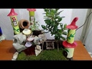How to make fairy garden with fountain and Jade plant/Money plant