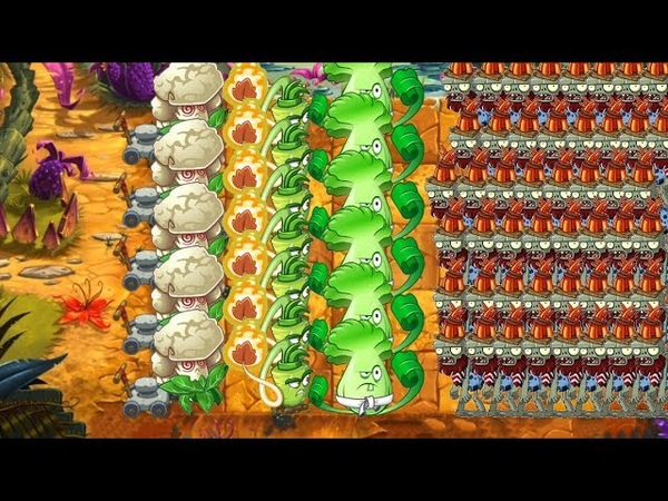 Pvz 2 - Wasabi Whip, Bonk Choy and Caulipower vs all Zombies