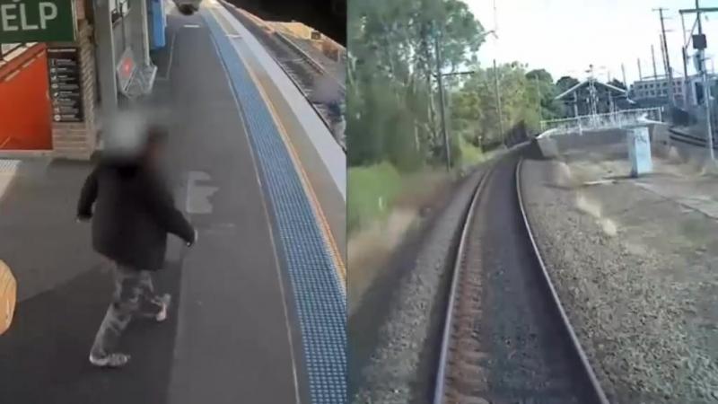 Мужчина упал на рельсы за секунды до прибытия поезда