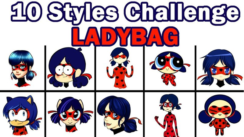 10 ART STYLES CHALLENGE | LadyBug | Леди Баг
