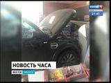 Land Rover Discovery въехал прямо в здание минимаркета на заправочной станции БРК на Ангарской объ