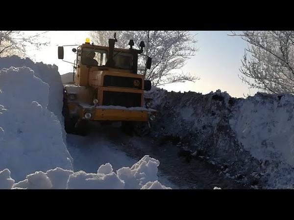 Трактор Кировец Дорога домой Пробираюсь по зимней степи