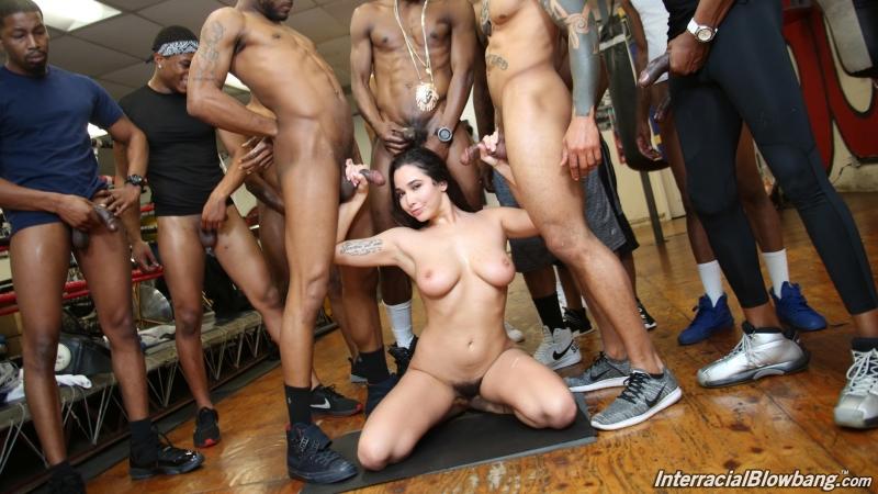 Interracial Blowbang Karlee Grey HD 1080, 11 on 1, Big Tits, Black, Blowbang, Bukkake, Cumshot, Facial,
