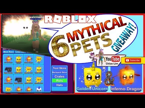 Roblox Mining Simulator! 6 Mythical Pets GIVEAWAY! 3 Golden Unicorn 3 Inferno Dragon - See Desc!