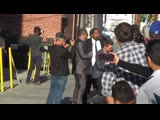Jeremy Renner signs autographs outside Jimmy Kimmel Live but did not finish the line and left