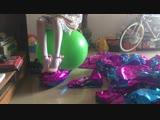 50 Mylar balloons popping