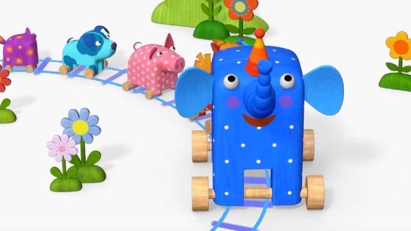 Деревяшки Каток Паровоз обучающие мультфильмы для малышей 0 4