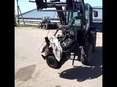 Сняли двигатель трактора Т-150