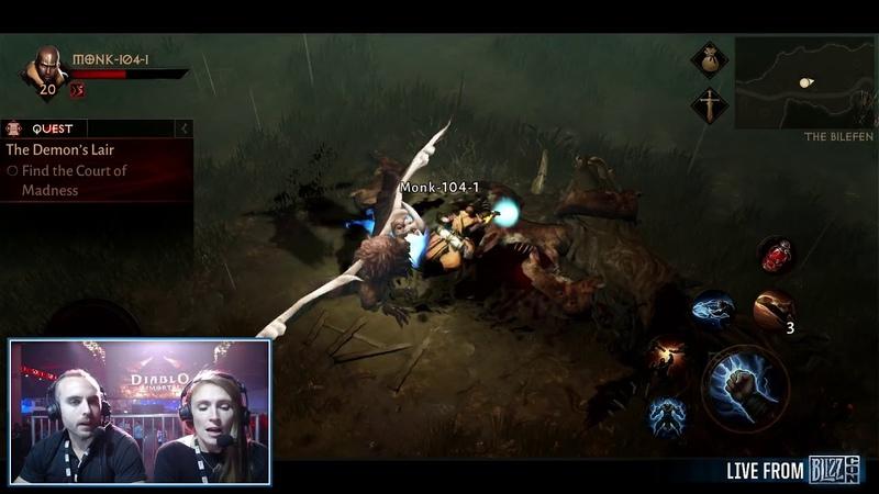 DIABLO IMMORTAL: Monk Gameplay [Blizzcon Demo] - Bajheera Jen First Look (Part 1)