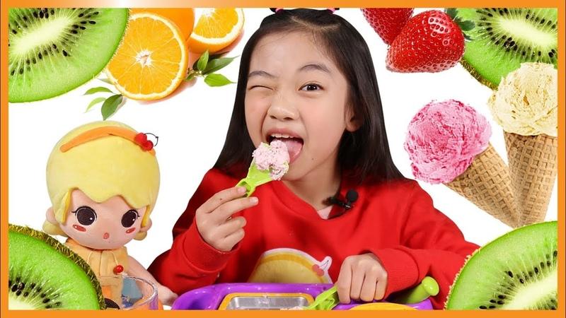 빨간맛~ 과일 뿜뿜 미니 철판아이스크림 만들기 ☆ 매직 아이스크림 트레이 973