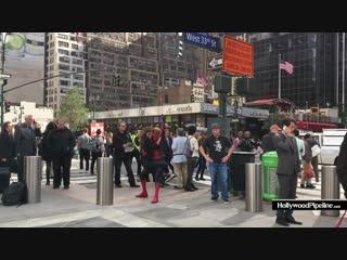 12 октября: Зендая и Том Холланд на съемках фильма Человек Паук: Вдали От Дома в Нью-Йорке