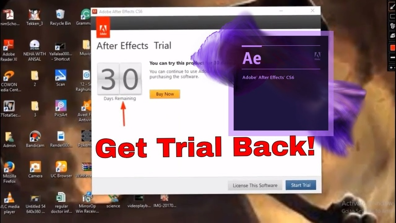 How to get trial back in After Effects CS6 (2018) | free | no internet usage | 105% working | 👍😊👌