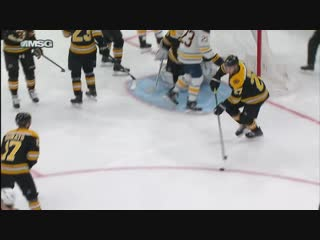 Jack eichel fools the bruins defence with a slick feed to jeff skinner