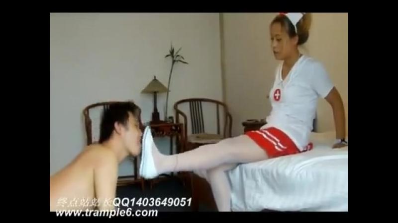 Asian nurse trample worship white flats 1