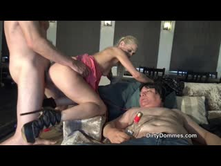 Rich blonde cuckolds drunk husband(cumeating,cuckold,blonde,bisexual,mistress,femdom)