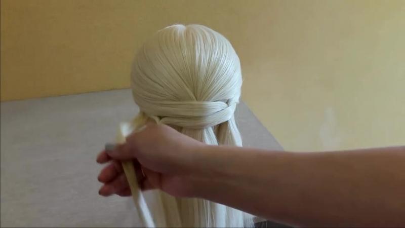 Легкая прическа для длинных средних волос 🌸