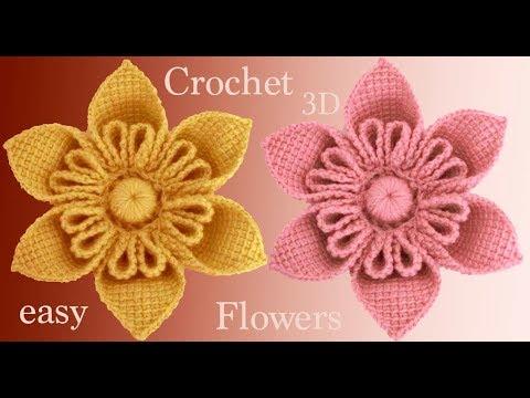 Flores a Crochet en 3D paso a paso estilo Kanzashi tejido tallermanualperu