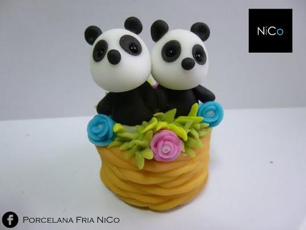 Pandas en canasta de porcelana Fria - Basket Pandas polymer clay