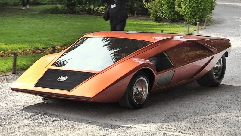 1970 Lancia Stratos Zero A crazy concept from the Wedge Era - Sound Driving on the Streets!
