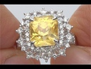HGT Certified UNHEATED Natural VIVID Yellow Sapphire Diamond 14k White Gold Ring - C207
