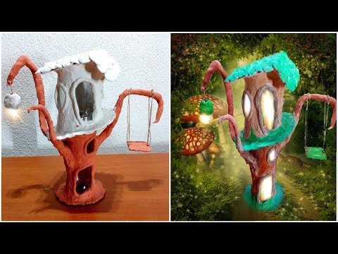 How to make Fairy House lamp on tree with Fairy Swing