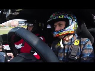 Valentino Rossi at the wheel of the Ferrari 488 Pista