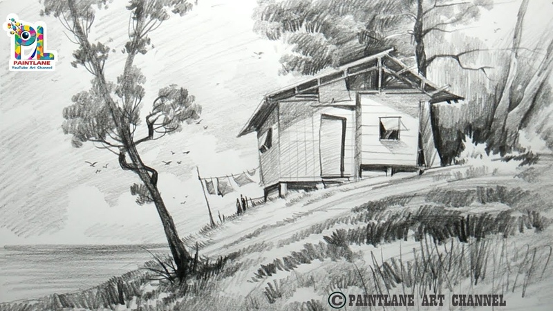 How To Draw A Small Wooden House On Upland Scenery With Pencil | Step by Step