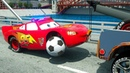 Learn Colors with Police Mcqueen Assembly Soccer Ball Wheel, Parking Vehilce for Kids