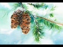Pine Cone Painting in Watercolor Snow Winter
