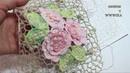 Сеточка крючком для ирландского кружева\ Вязание сеточки по шаблону\ Сетка с розами \Вяжем по схемам