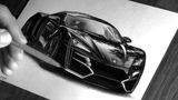 Realistic pencil drawing car LYKAN HyperSport Speed drawing Photorealistic art ISP DRAWING