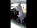 Алёнушка за рулём машины у папы ;)