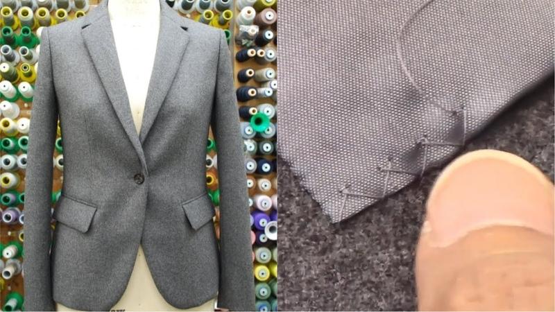 ジャケットの作り方・縫い方 Part7 「星止め・まつり縫い・千鳥がけ・釦付け ボタンホール 仕上げアイロン」 How to sew a jacket tutorial