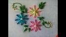 Double Color Thread Flowers with Daisy Stitch Flores en Puntada Margarita Doble Color Bordado a mano