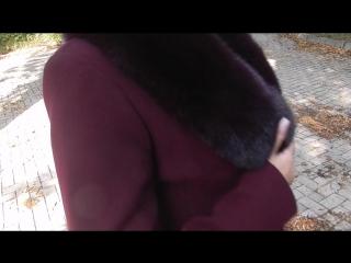 Пальто зима с песцовым воротником