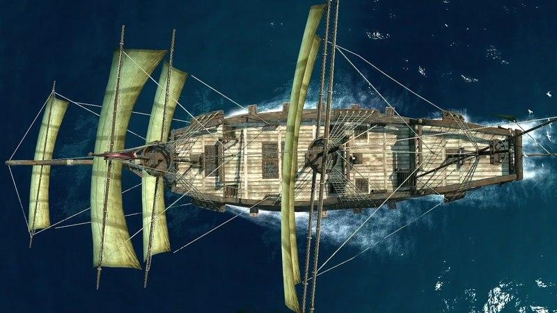 Galleon and plain sea action scene