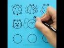 Учим детей рисовать животных , птиц и насекомых из обычного круга.