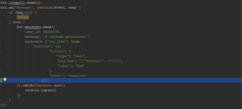How to send keyboard VK on the bot node js? - bug-code com Q&A
