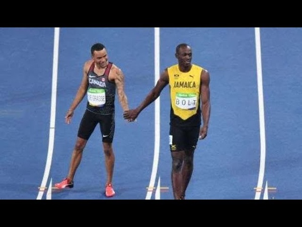 Andre de Grasse vs Usain Bolt - all career races face to face (HD)