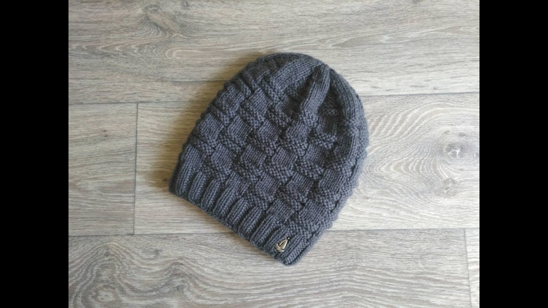 Мужская шапка, шапка для мальчика Шахматка спицами.