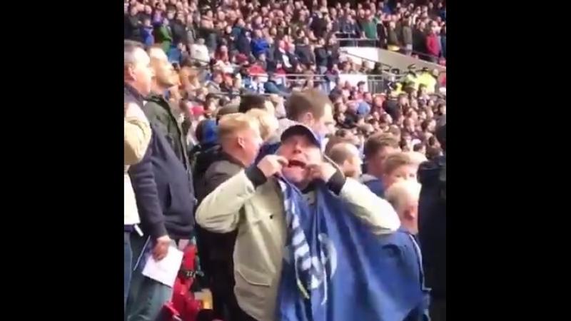 Cardiff fan at Wembley against Tottenham