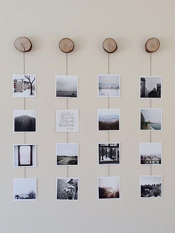 идеи развесить фото в комнате на леске даже стандартные