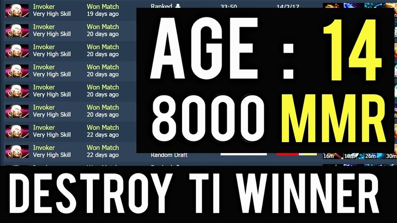 14 Years Old Kid Destroy TI Winner 8000 MMR One of Sickness Gameplay Invoker Spammer CN Rank Dota 2